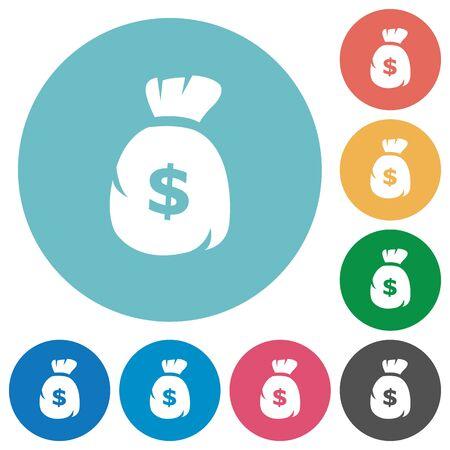 signos de pesos: Piso icono bolsa de dólares establecido en el fondo de color ronda.