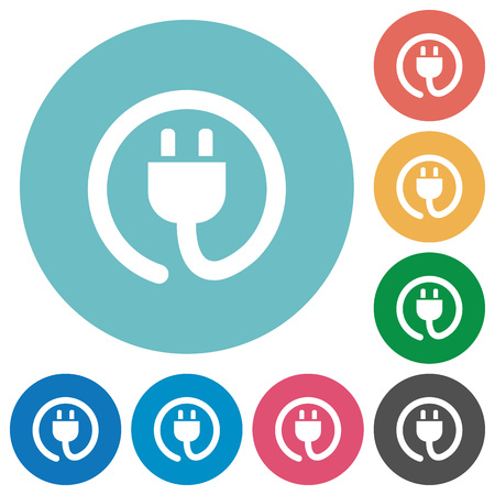 power cord: Flat power cord icon set on round color background.