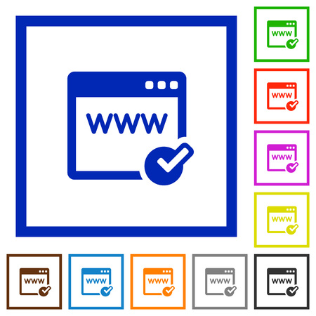 color registration: Set of color square framed Domain registration flat icons on white background Illustration