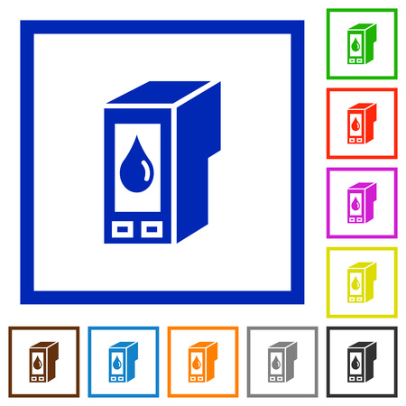 cartridge: Set of color square framed Ink cartridge flat icons on white background