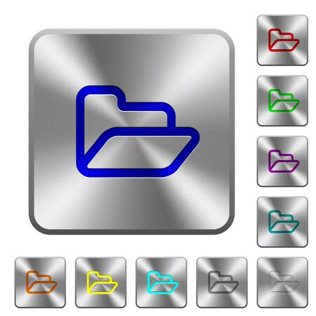 folder icons: Engraved folder icons on rounded square steel buttons