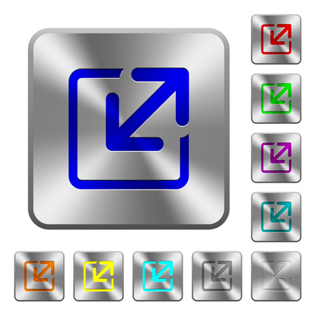 resize: Engraved resize window icons on rounded square steel buttons Illustration