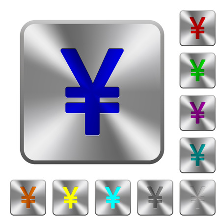 yen sign: Engraved yen sign icons on rounded square steel buttons Illustration