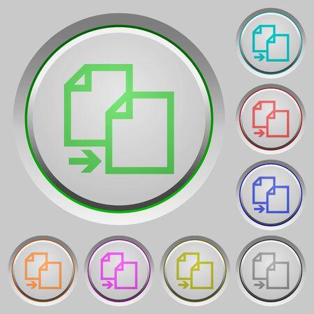the copy: Set of color copy sunk push buttons.