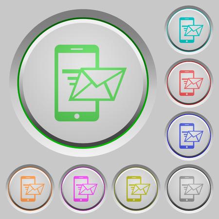 sunk: Set of color Sending email sunk push buttons. Illustration