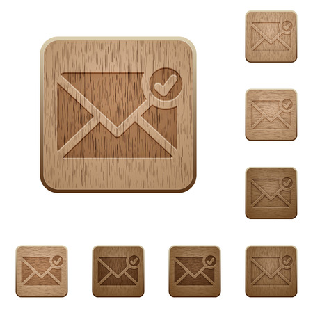 variations: Set of carved wooden Mail sent buttons in 8 variations.