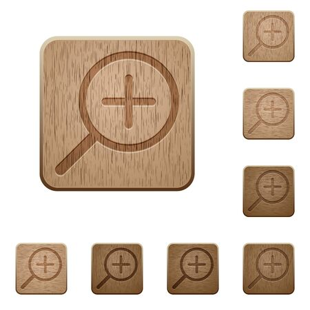 variations: Set of carved wooden zoom in buttons in 8 variations.