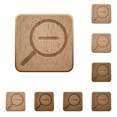 zoom out: Set of carved wooden Zoom out buttons in 8 variations. Illustration