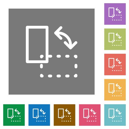 rotate: Rotate element flat icon set on color square background. Illustration