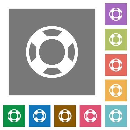 lifesaver: Lifesaver flat icon set on color square background.