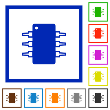 plain button: Set of color square framed Integrated circuit flat icons on white background Illustration