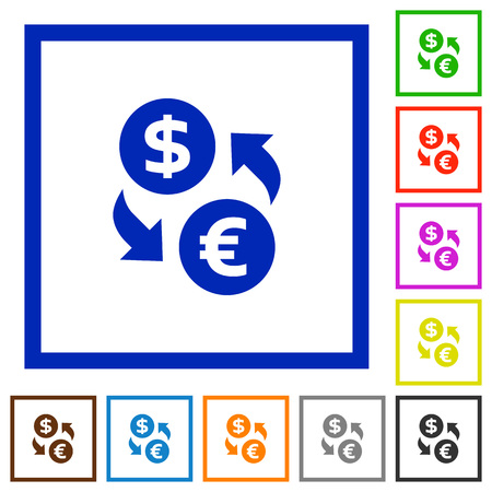 foreign exchange rates: Set of color square framed dollar euro exchange flat icons on white background