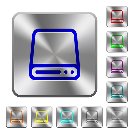 hard disk drive: Engraved hard disk drive icons on rounded square steel buttons Illustration