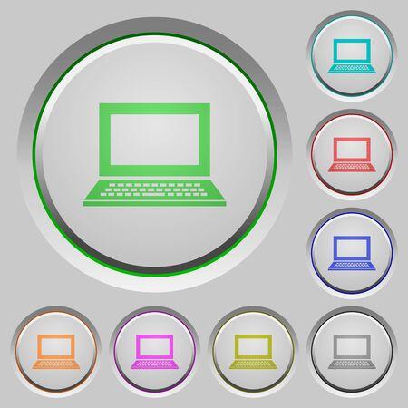 sunk: Set of color laptop sunk push buttons.