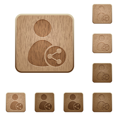 permissions: Set of carved wooden share user buttons in 8 variations. Illustration