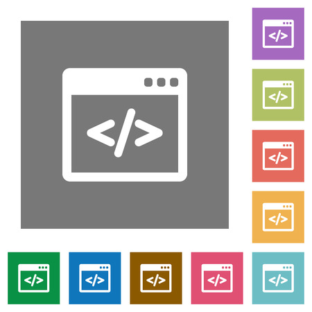 asp: Programming code flat icon set on color square background. Illustration
