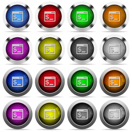 bash: Set of linux terminal glossy web buttons. Arranged layer structure. Illustration