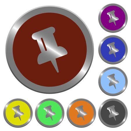coinlike: Set of color glossy coin-like pin buttons.
