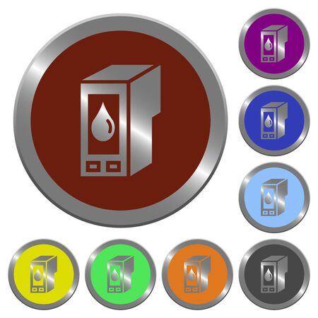 Consumables: Set of color glossy coin-like ink cartridge buttons. Illustration