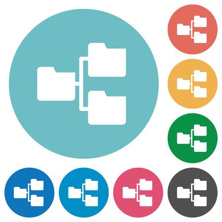 shared sharing: Flat shared folders icon set on round color background. Illustration