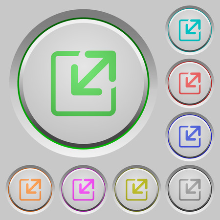 Set of color resize window sunk push buttons.