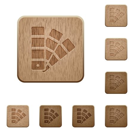 variations: Set of carved wooden Color swatch buttons in 8 variations. Illustration