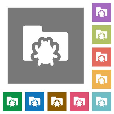 debugging: Bug folder flat icon set on color square background.