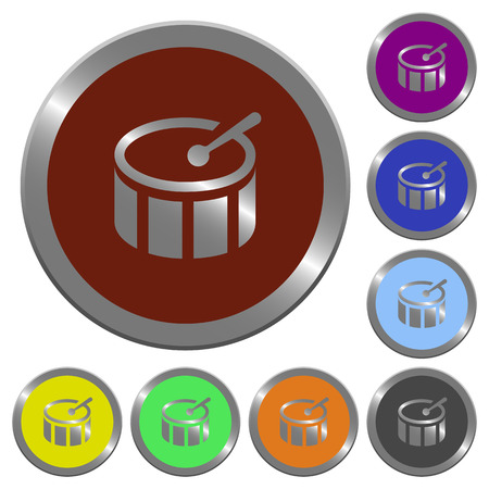 coinlike: Set of color glossy coin-like drum buttons.