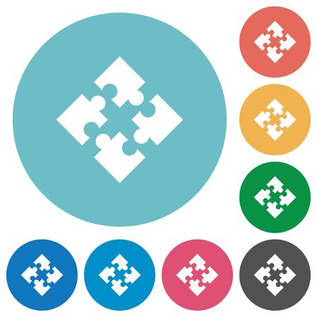 Flat modules icon set on round color background.