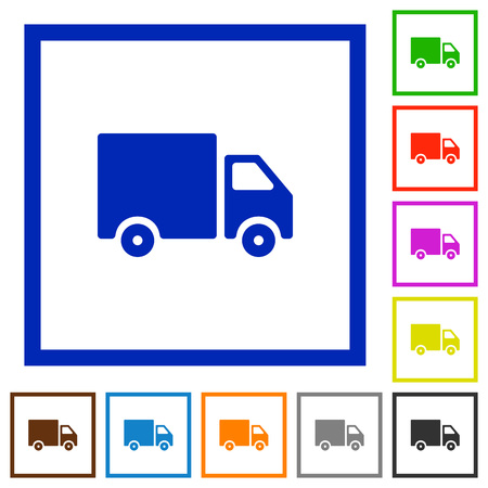 Set of color square framed delivery icons on white background