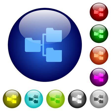 shared sharing: Set of color shared folders glass web buttons. Illustration