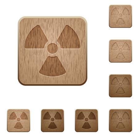 variations: Set of carved wooden radiation buttons in 8 variations. Illustration