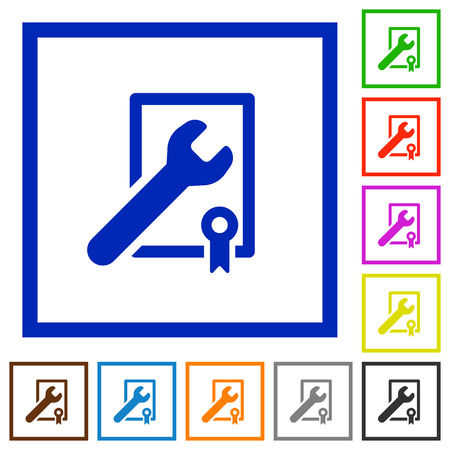 award winning: Set of color square framed Award winning support flat icons on white background