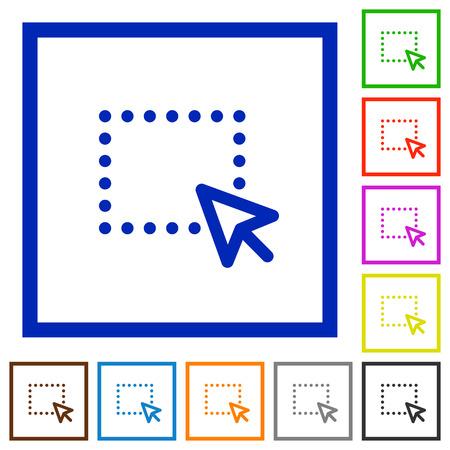 drag: Set of color square framed drag flat icons on white background