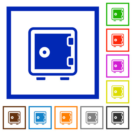 Set of color square framed strong box flat icons on white background