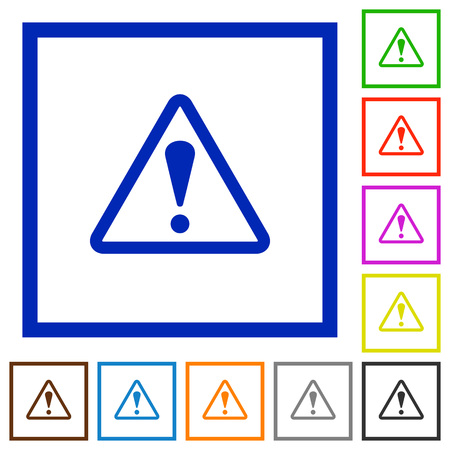 unsecure: Set of color square framed warning flat icons on white background