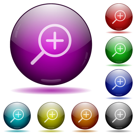 zoom in: Set of color zoom in glass sphere buttons with shadows.