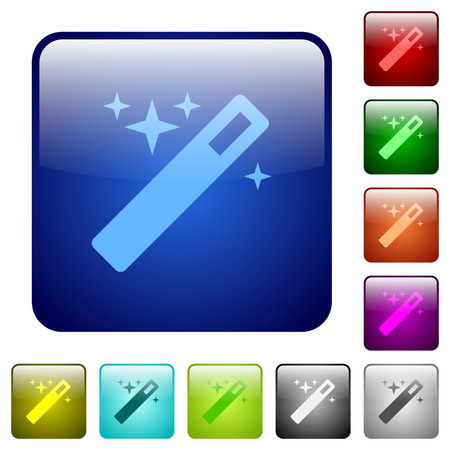 thaumaturge: Set of magic wand color glass rounded square buttons Illustration