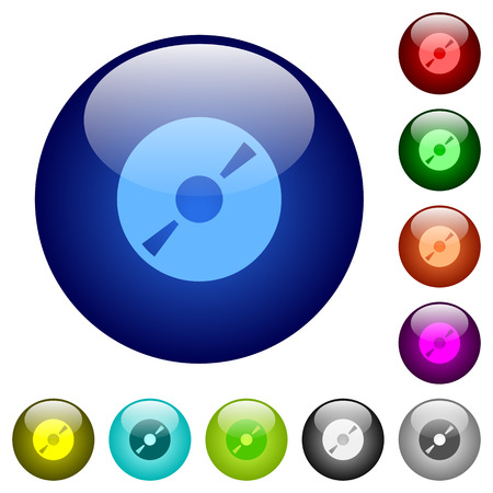 cd r: Set of color DVD glass web buttons.