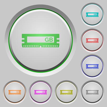 kilobyte: Set of color RAM module sunk push buttons.