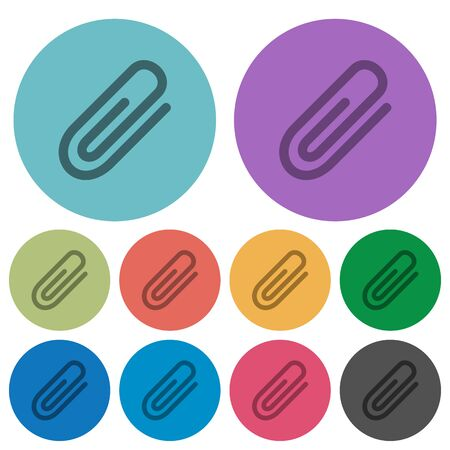 attachment: Color attachment flat icon set on round background.
