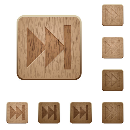 variations: Set of carved wooden Media fast forward buttons in 8 variations.