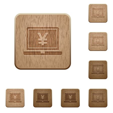 variations: Set of carved wooden Yen laptop buttons in 8 variations.