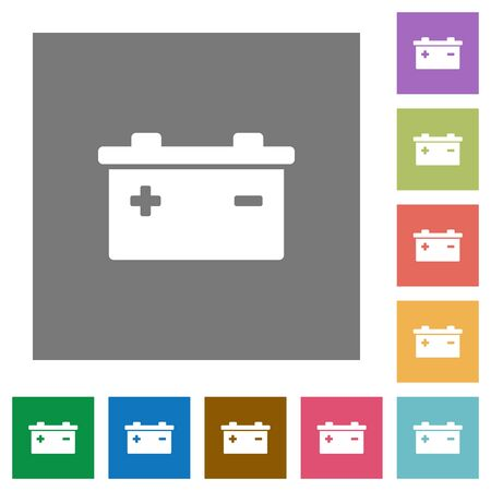 accu: Battery flat icon set on color square background. Illustration
