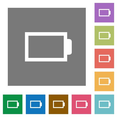 accu: Empty battery flat icon set on color square background.