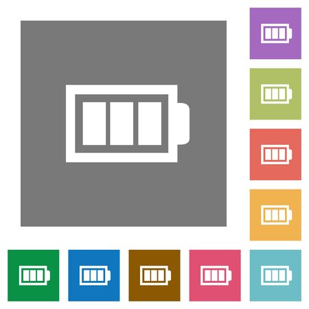 accu: Full battery flat icon set on color square background. Illustration
