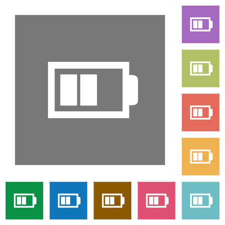 accu: Half battery flat icon set on color square background.