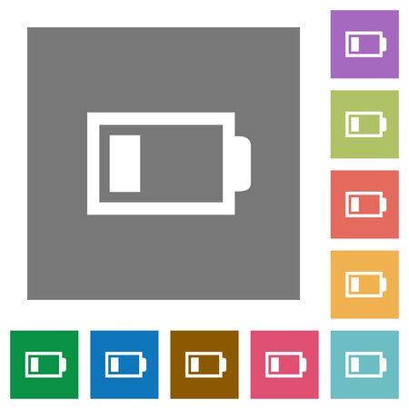 accu: Low battery flat icon set on color square background.