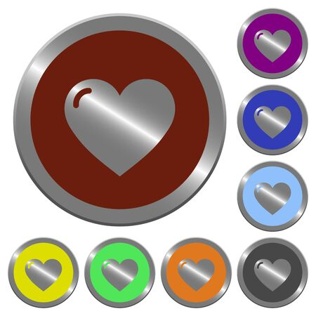 coinlike: Set of color glossy coin-like heart shape buttons.