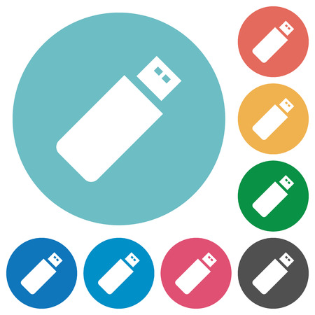 pendrive: Flat pendrive icon set on round color background.